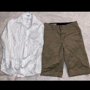 Calvin Klein button down shirt  and valcom shorts